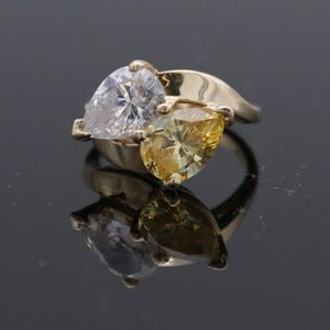 Jewelry - 14KT Yellow Two Colored Stones Citrin And CZ Ring